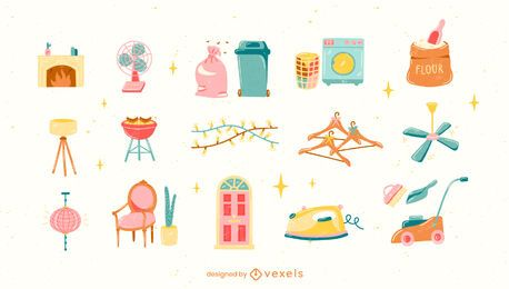 Conjunto de elementos domésticos