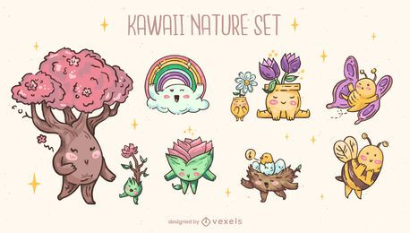 Conjunto de caracteres da natureza Kawaii