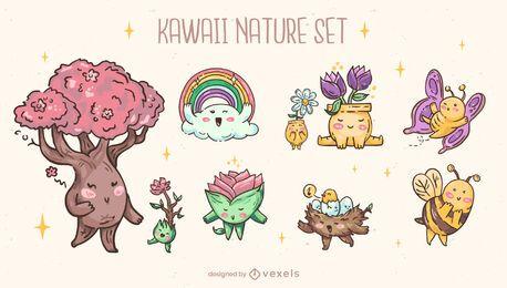 Conjunto de caracteres de naturaleza kawaii