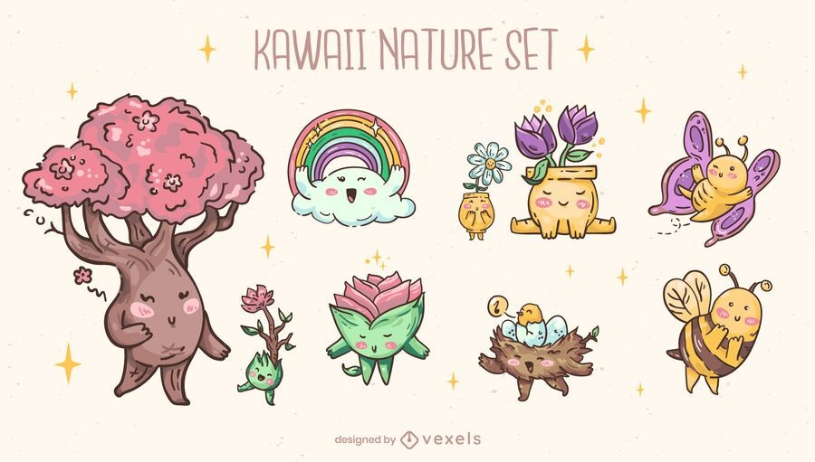 Kawaii nature character set