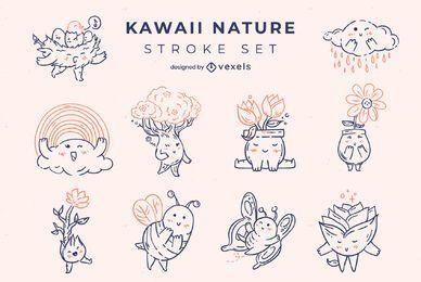 Conjunto de caracteres de traço da natureza Kawaii
