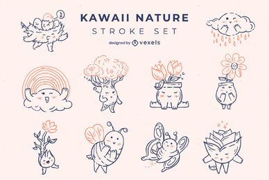 Kawaii nature stroke characters set