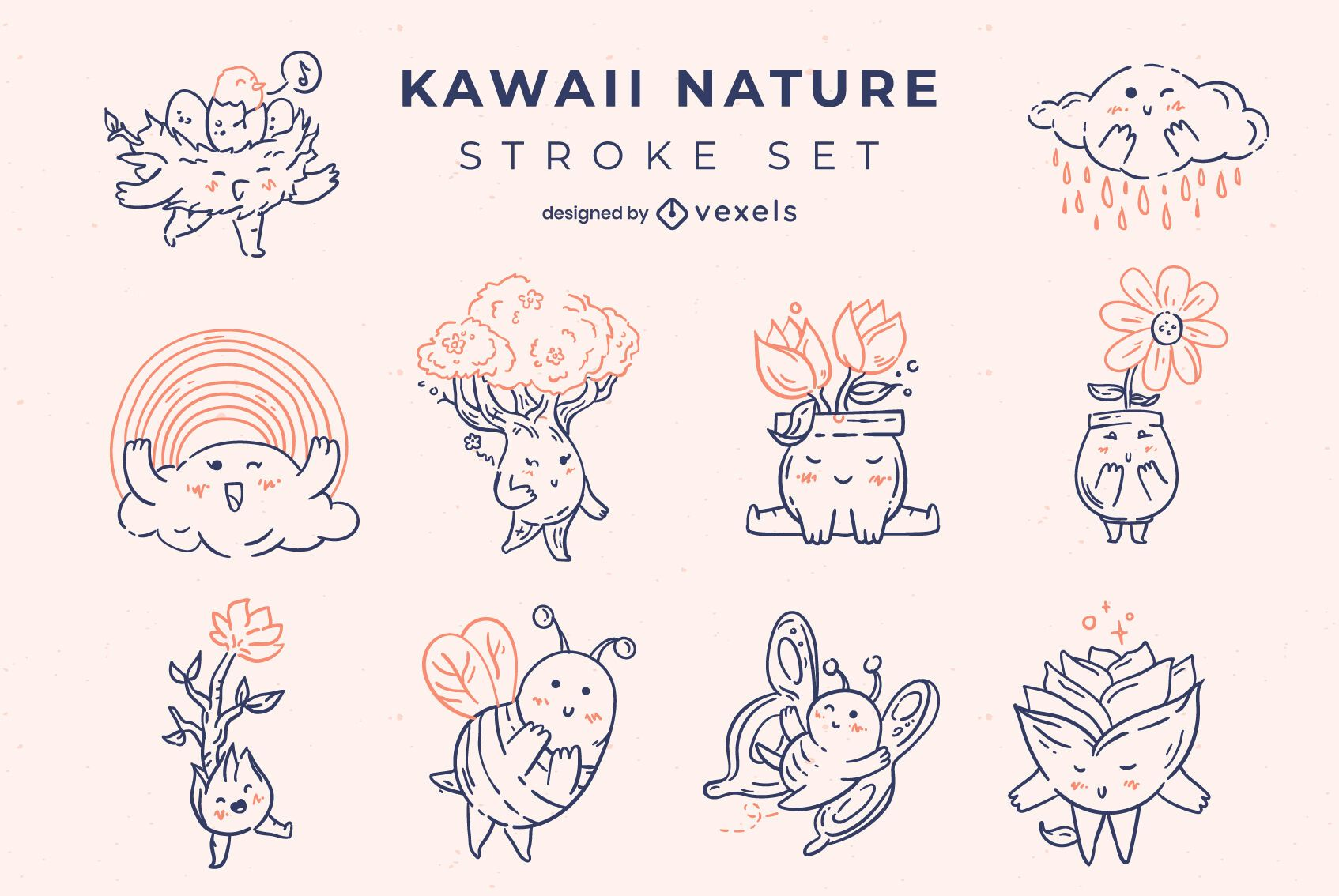 Conjunto de personajes de trazo de naturaleza kawaii