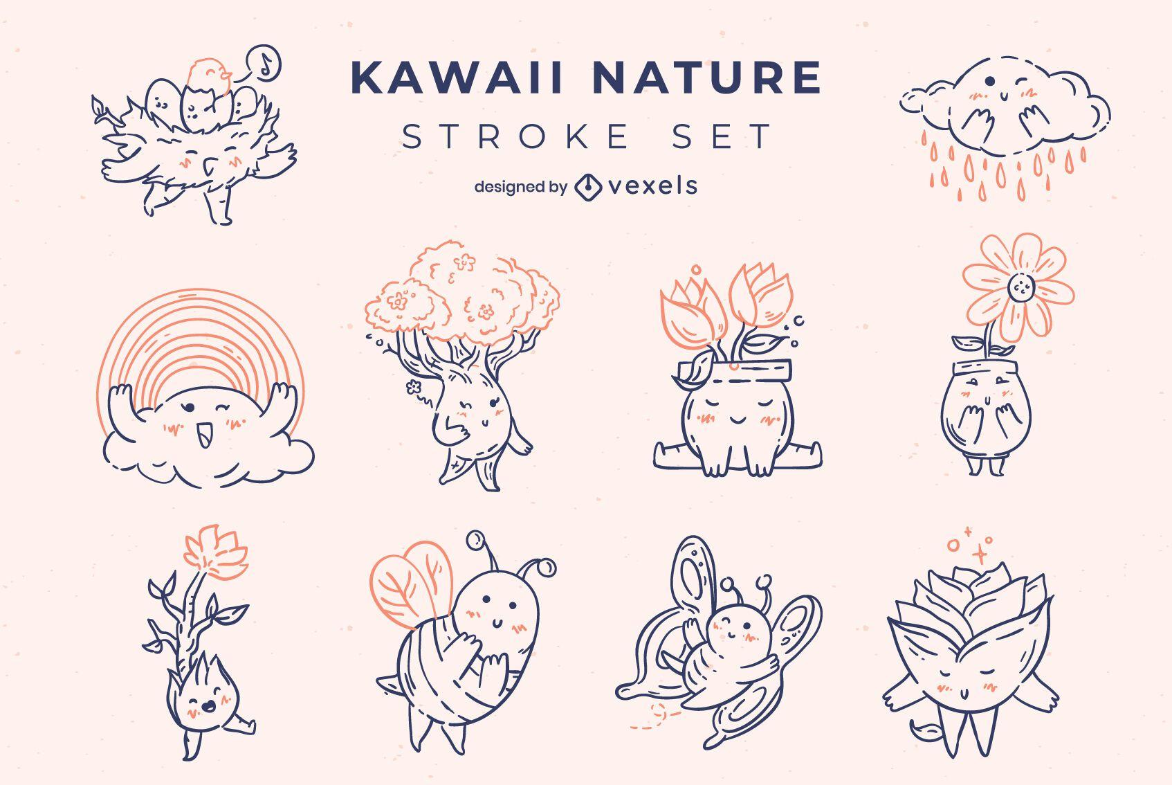 Kawaii nature stroke characters set