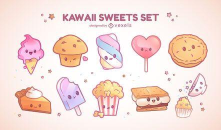 Conjunto de personajes dulces kawaii