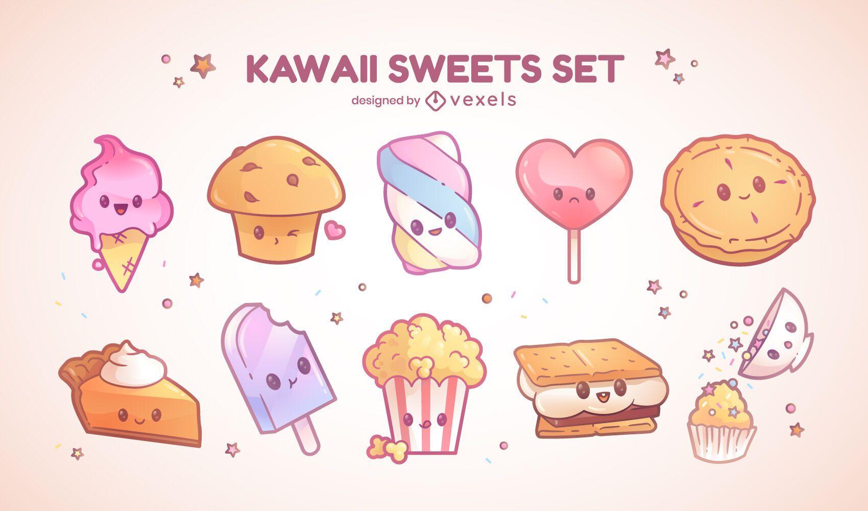 Sweet kawaii characters set