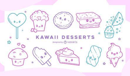 Conjunto de traços kawaii doce