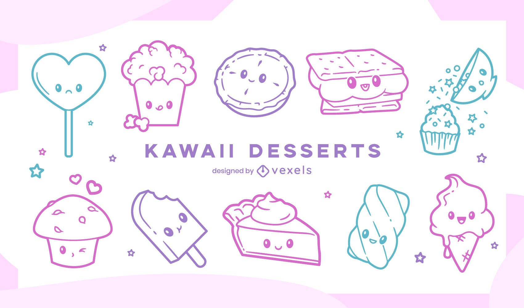 Sweet kawaii stroke set