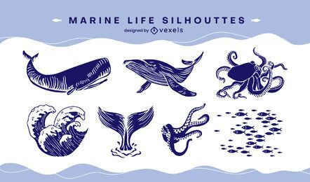 Marine life set cut-out