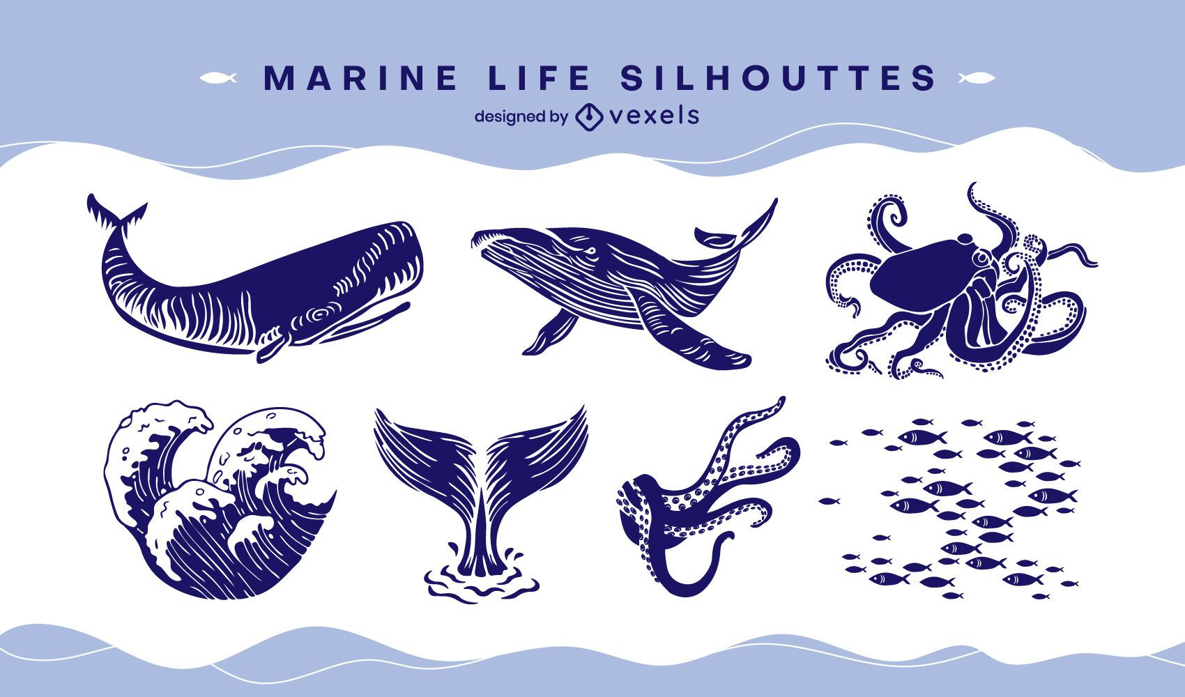 Marine life set cut-out