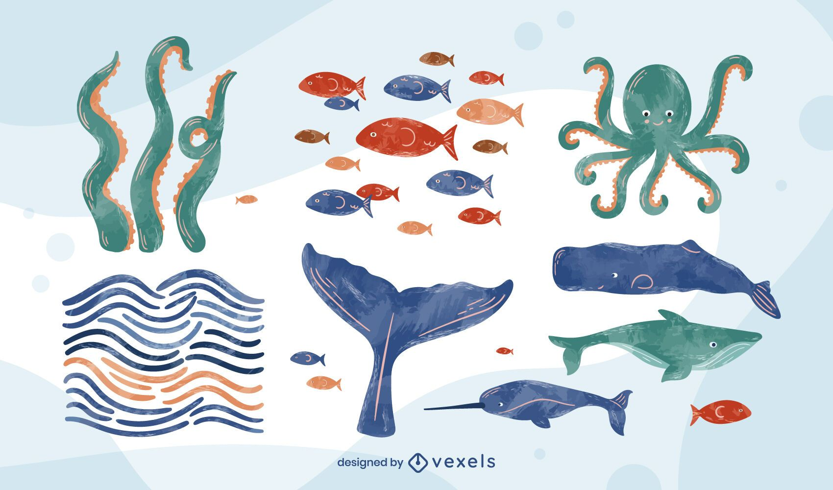 Marine life set watercolor