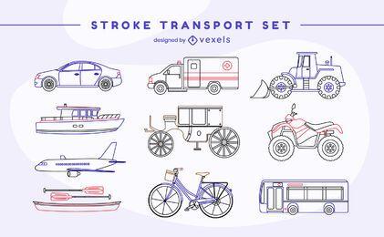 Conjunto de curso de transporte de veículo