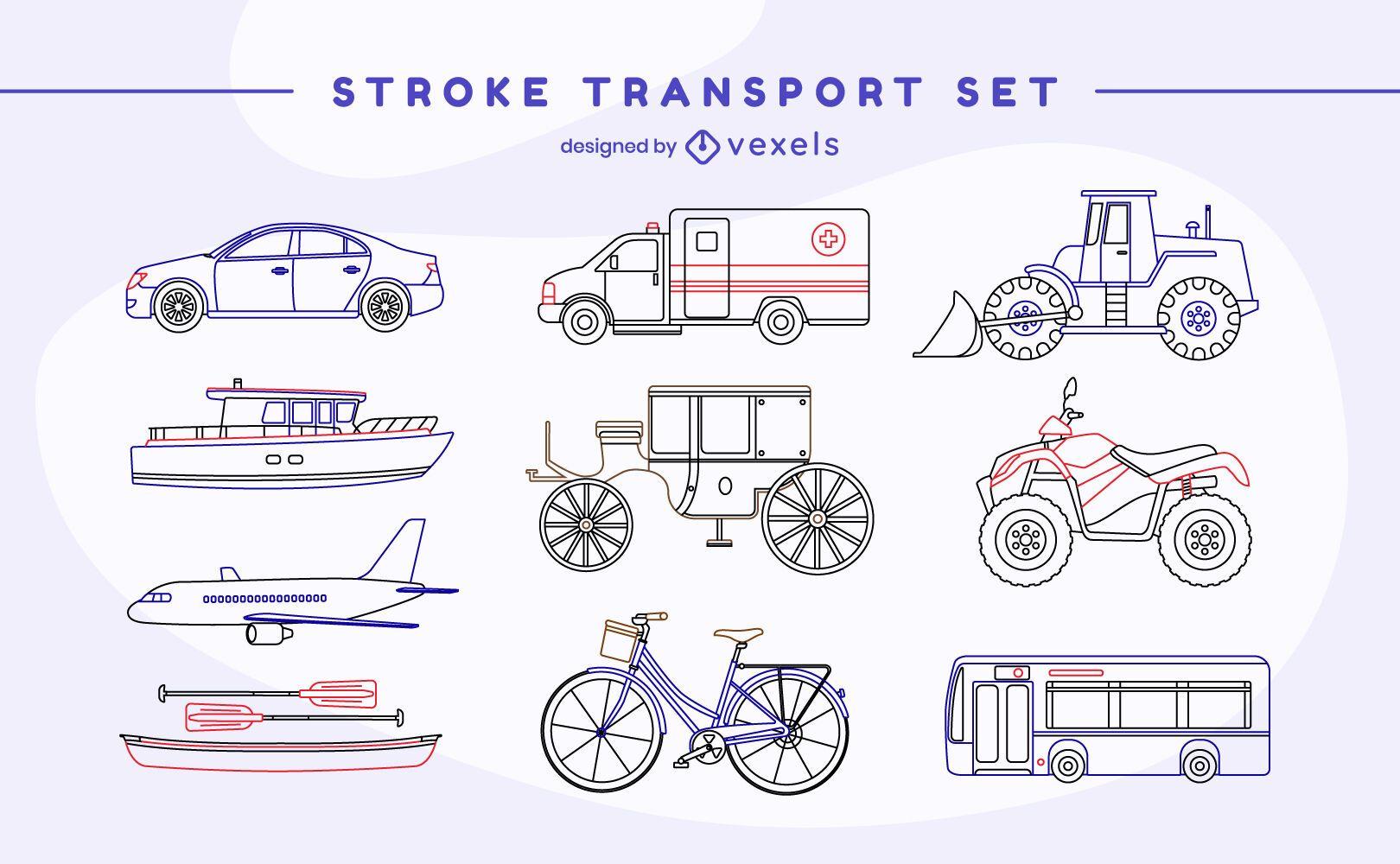 Conjunto de trazos de transporte de vehículos
