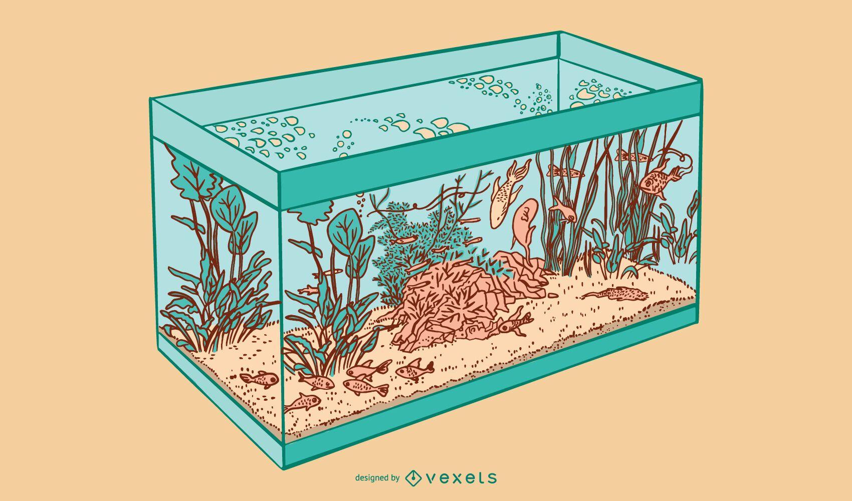 Square fishbowl illustration