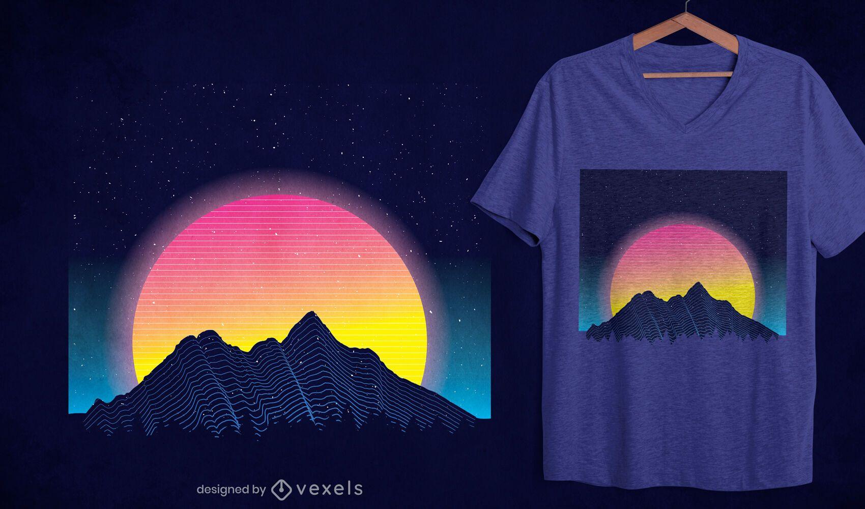 Diseño de camiseta de montañas retrowave