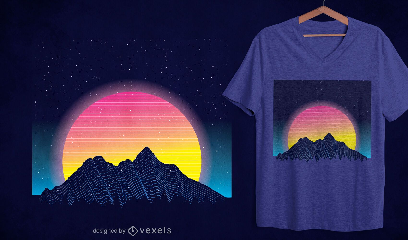 Retrowave Berge T-Shirt Design