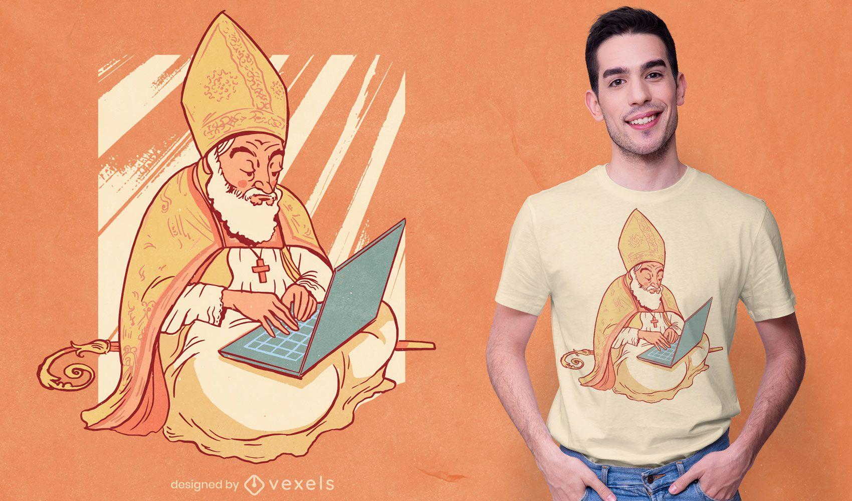 Diseño de camiseta de obispo portátil