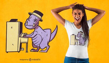 Design de camiseta para pianista t-rex