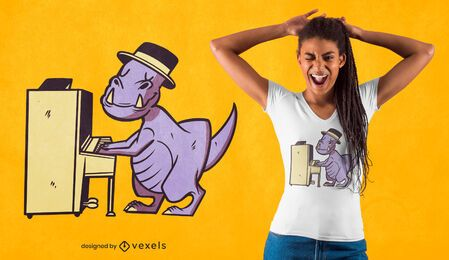 Pianist t-rex t-shirt design