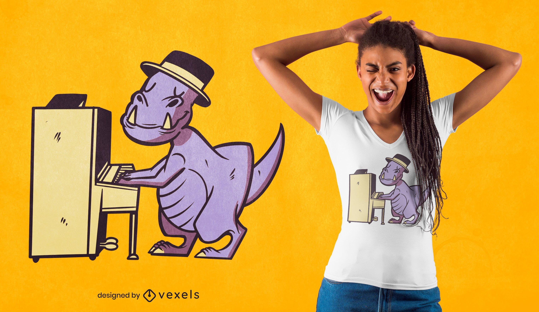Diseño de camiseta pianista t-rex