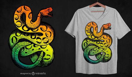 Diseño de camiseta de serpiente de cascabel arcoíris