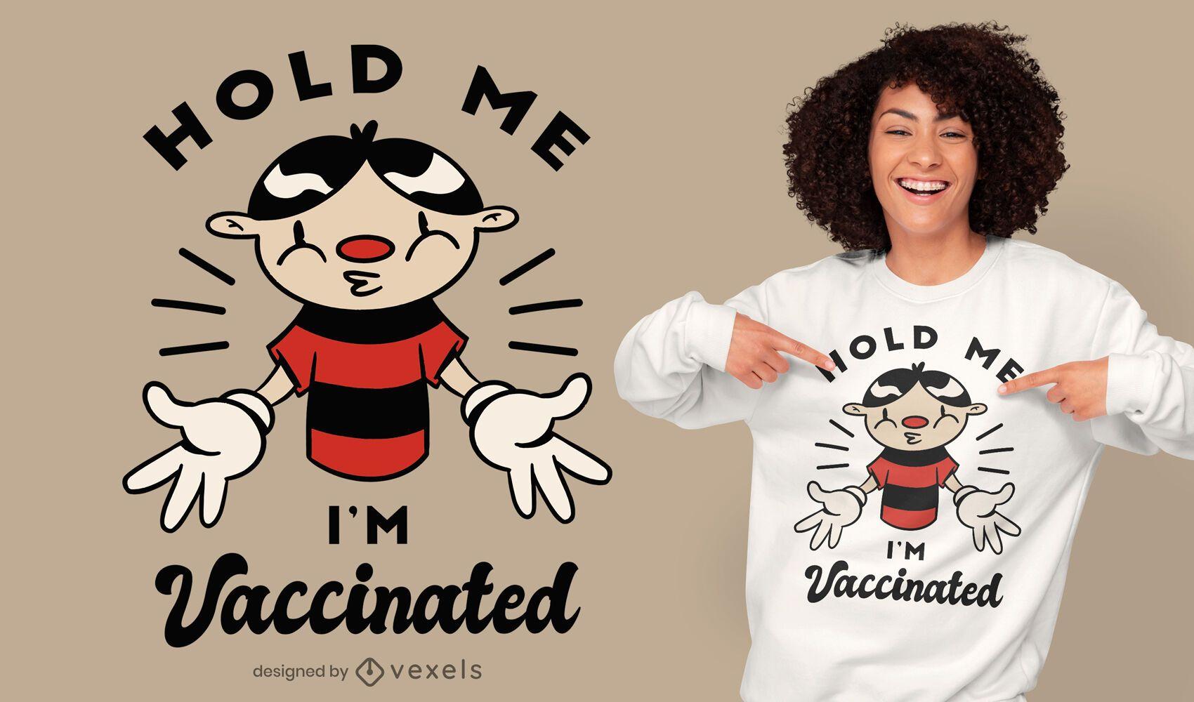 Diseño de camiseta de dibujos animados vacunados.