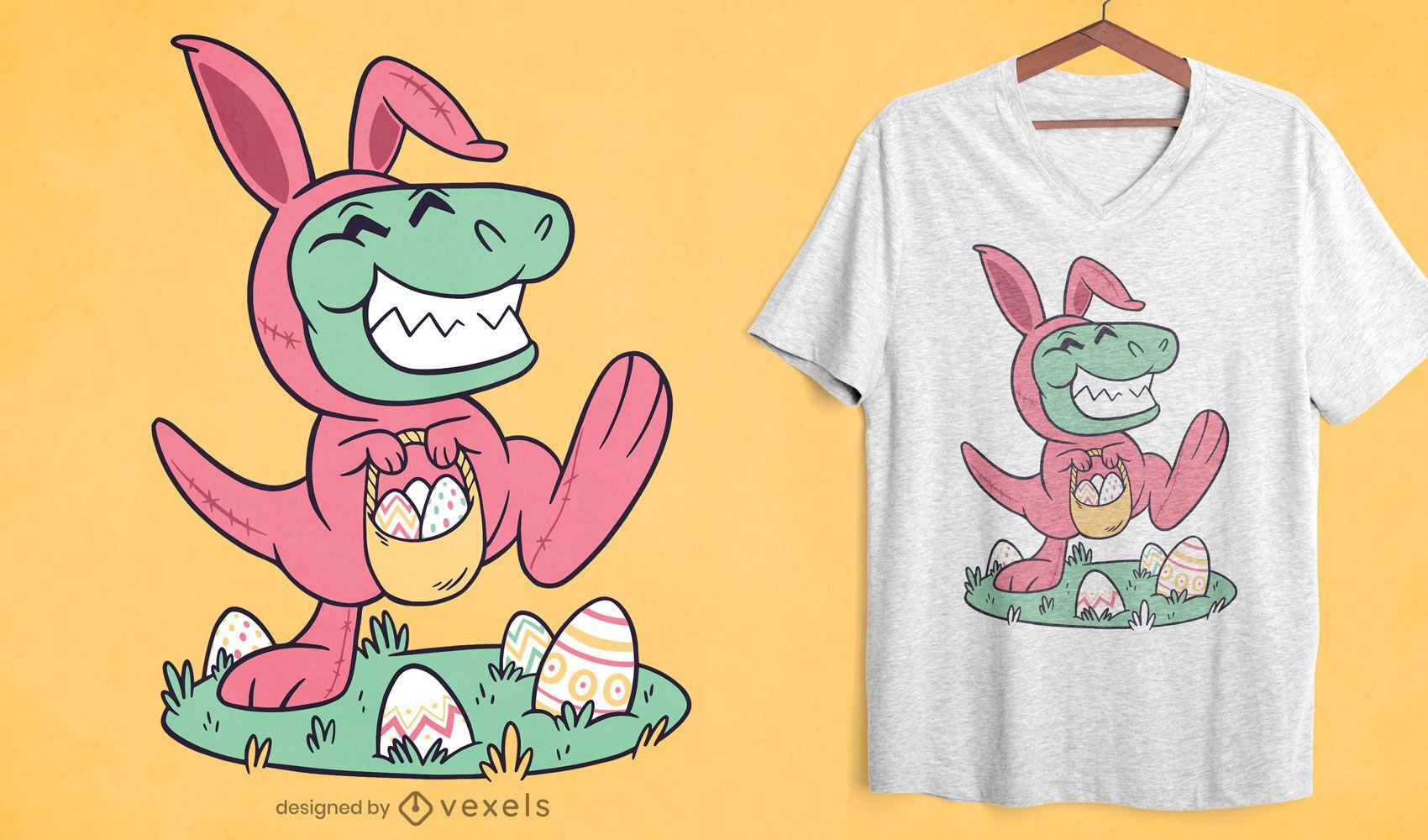 Diseño de camiseta de t-rex de pascua