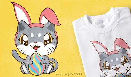 Diseño de camiseta de gatito de pascua