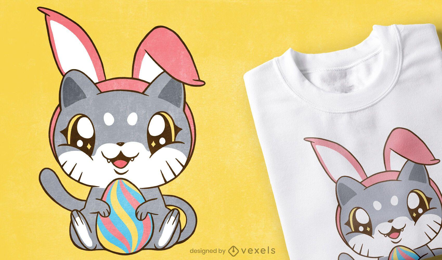 Dise?o de camiseta de gatito de pascua
