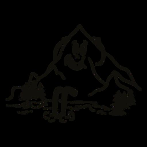 Happy mountain filled stroke