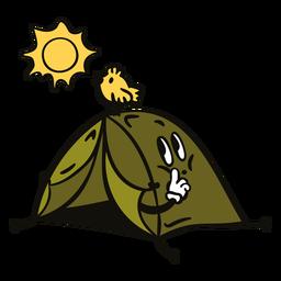 Camping tent with bird cartoon