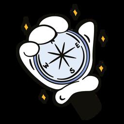 Hand with compass cartoon