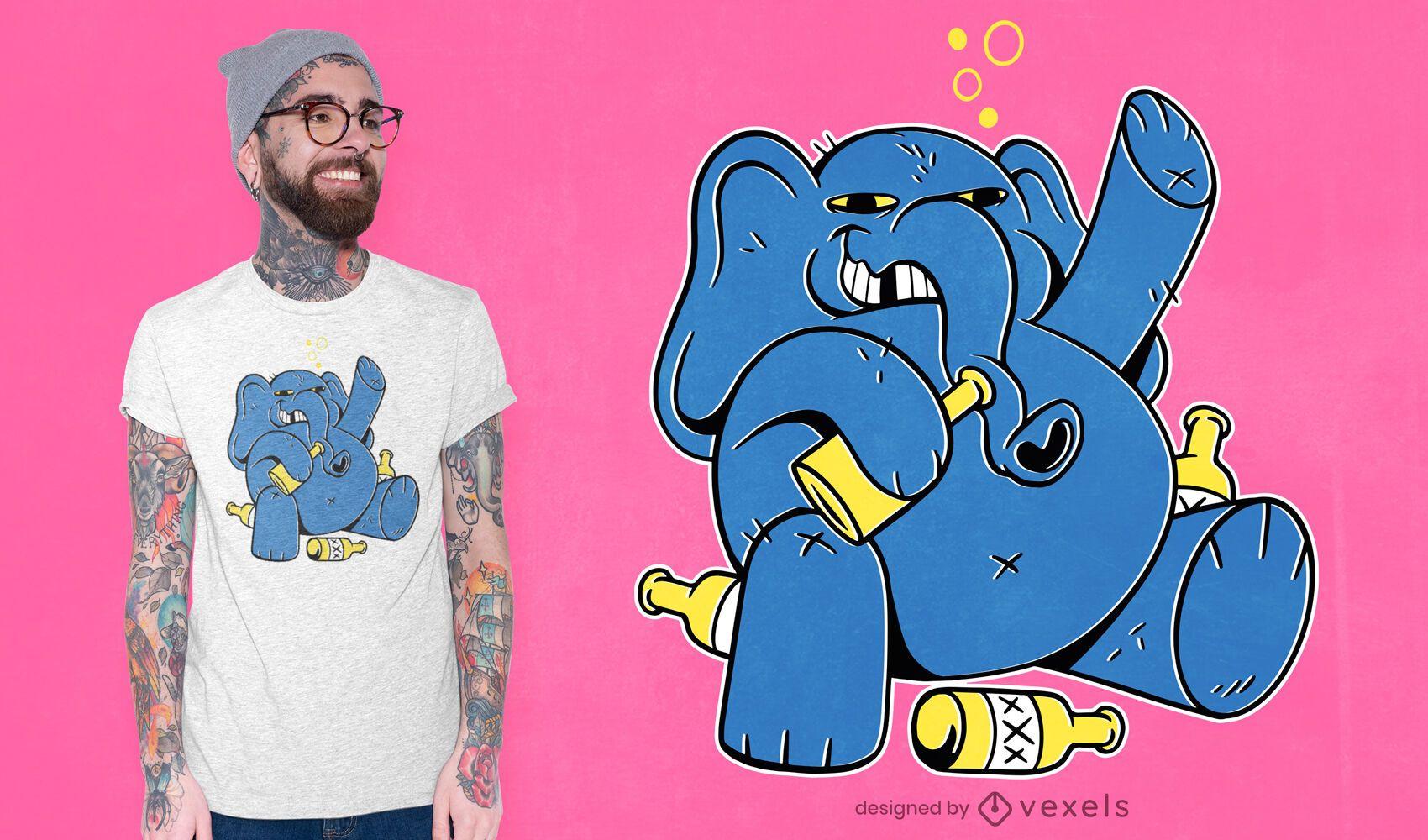 Diseño de camiseta de elefante borracho