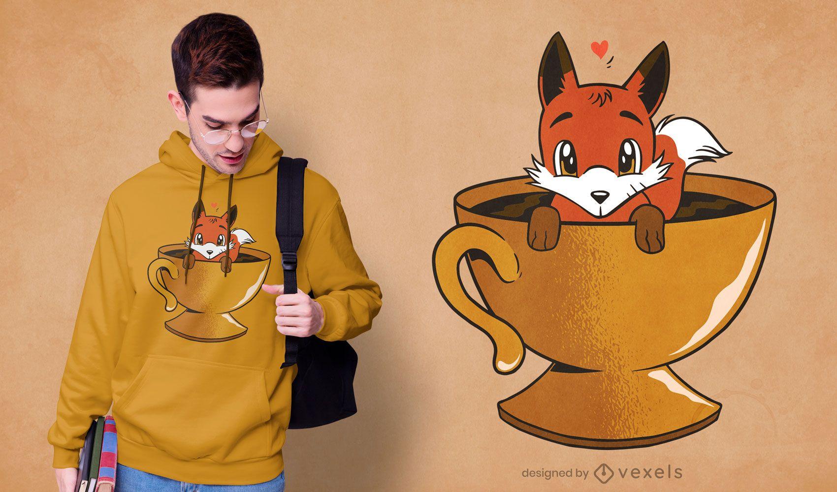 Diseño de camiseta Fox Coffee