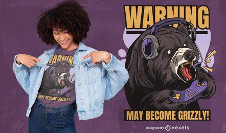 Diseño de camiseta de oso de juego.
