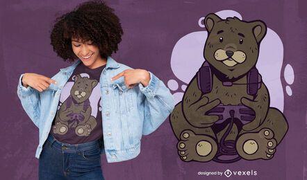 Design de t-shirt de urso gamer fofo