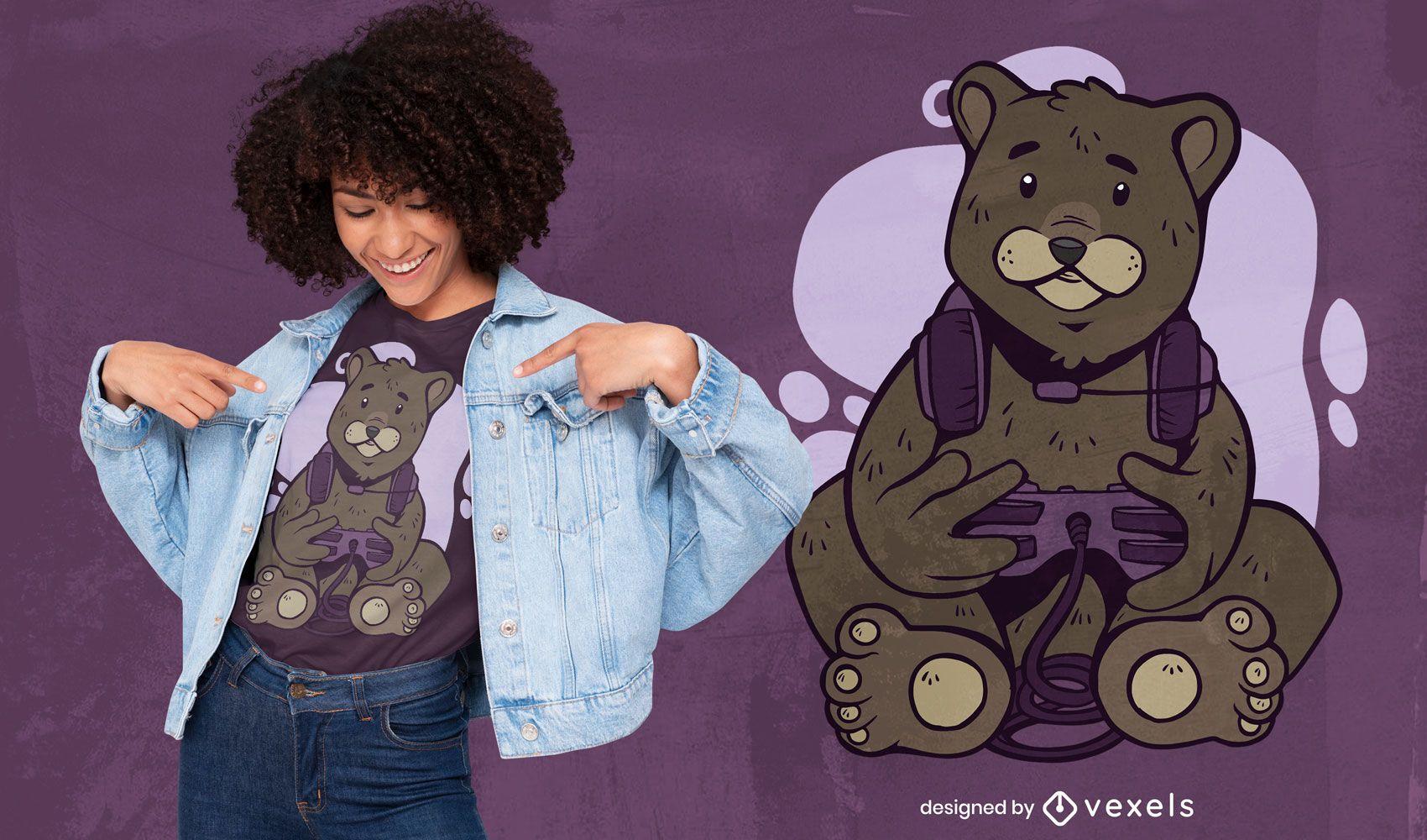 Lindo diseño de camiseta de oso gamer