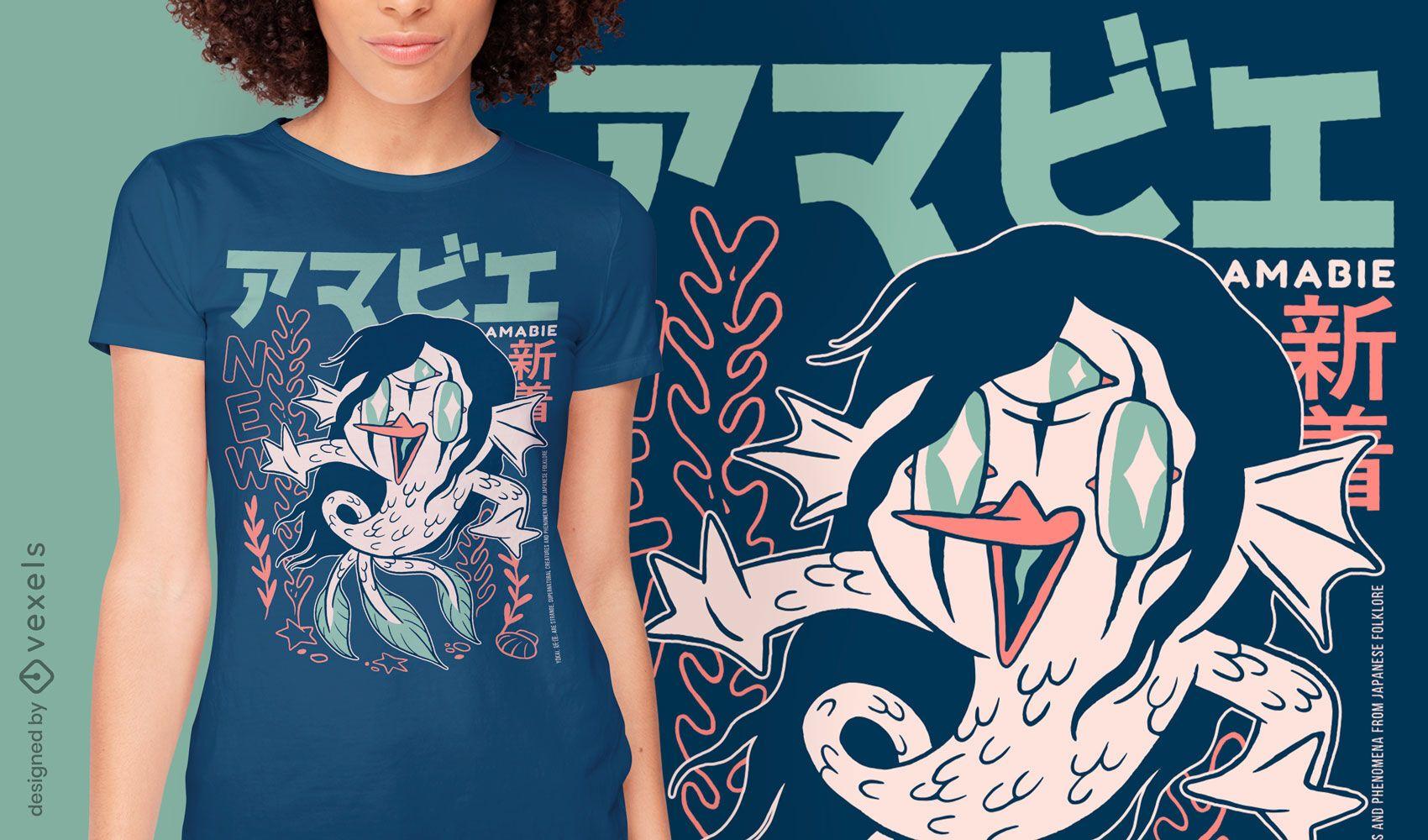 Design de camiseta japonesa yokai Amabie