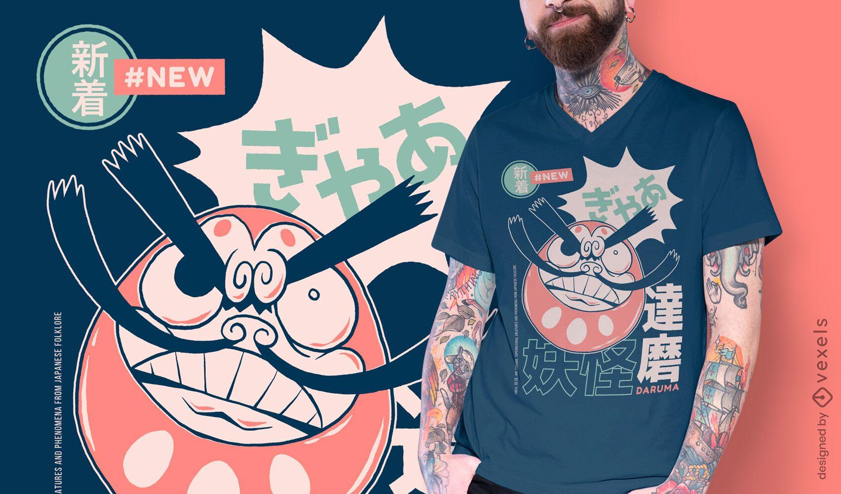 Design de t-shirt japonesa yokai Daruma