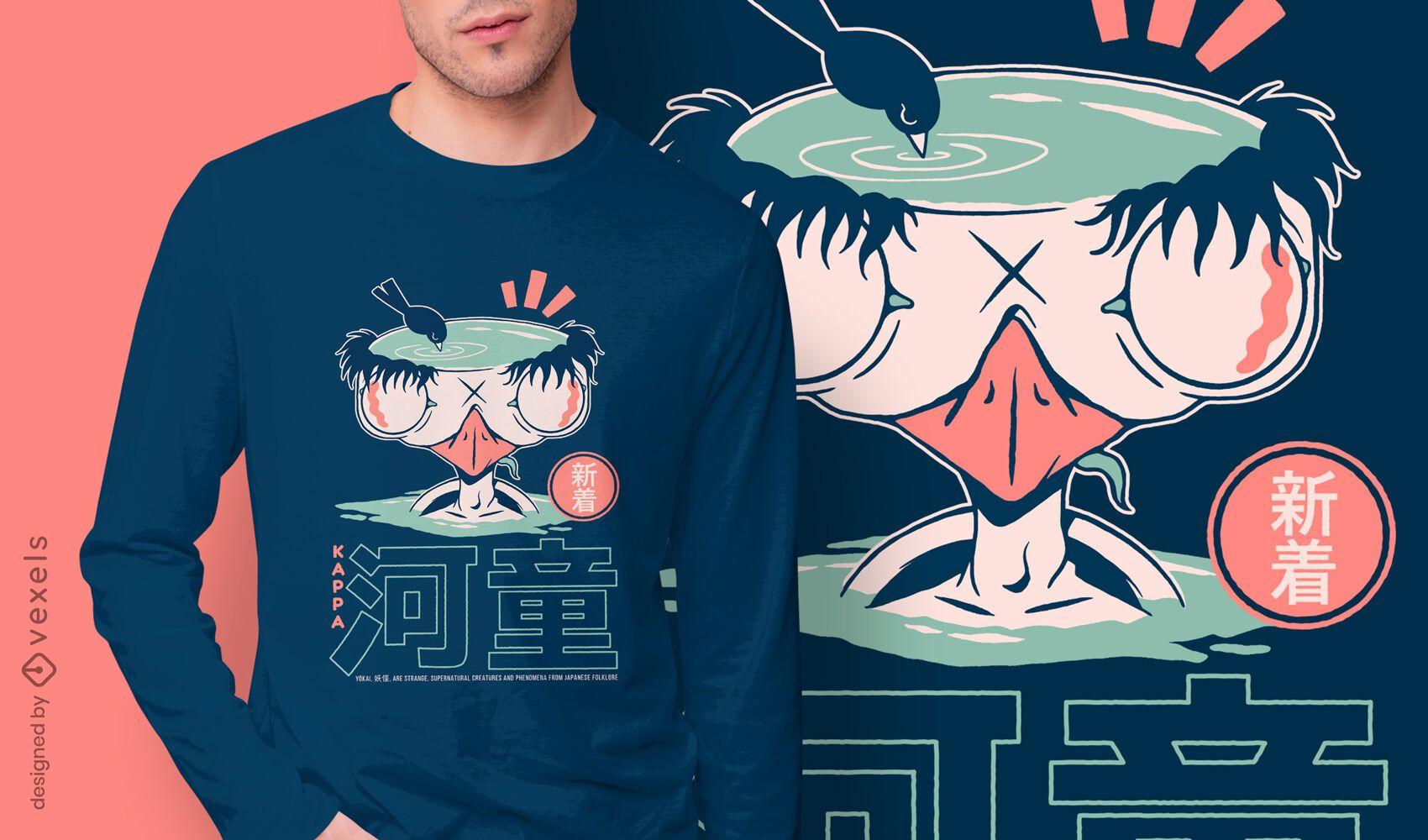 Design de t-shirt kappa japonesa yokai