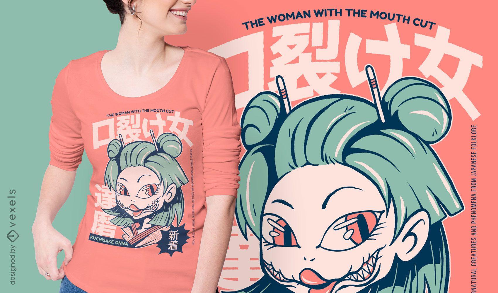 Diseño de camiseta yokai japonés Kuchisake-Onna