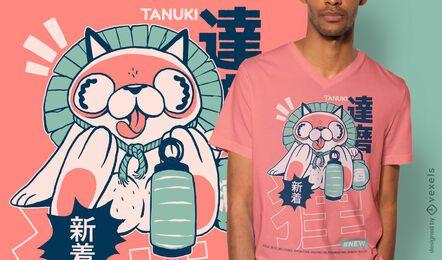 Diseño de camiseta tanuki japanese yokai