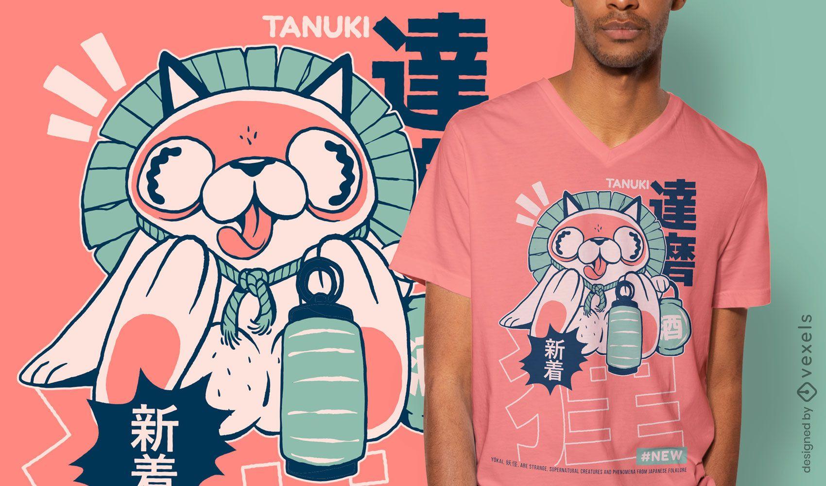 Tanuki japanese yokai t-shirt design