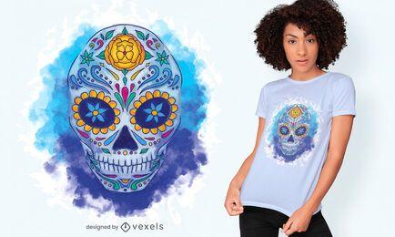Diseño de camiseta de acuarela de calavera de azúcar