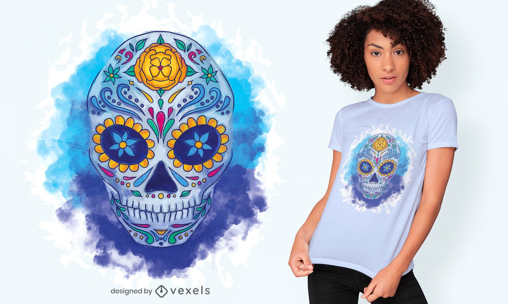 Sugar skull watercolor t-shirt design