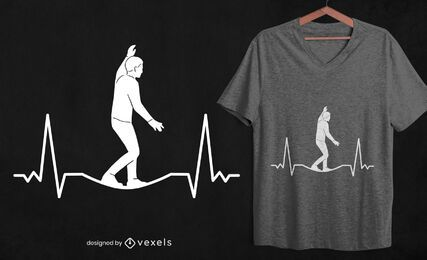 Slackline heartbeat t-shirt design