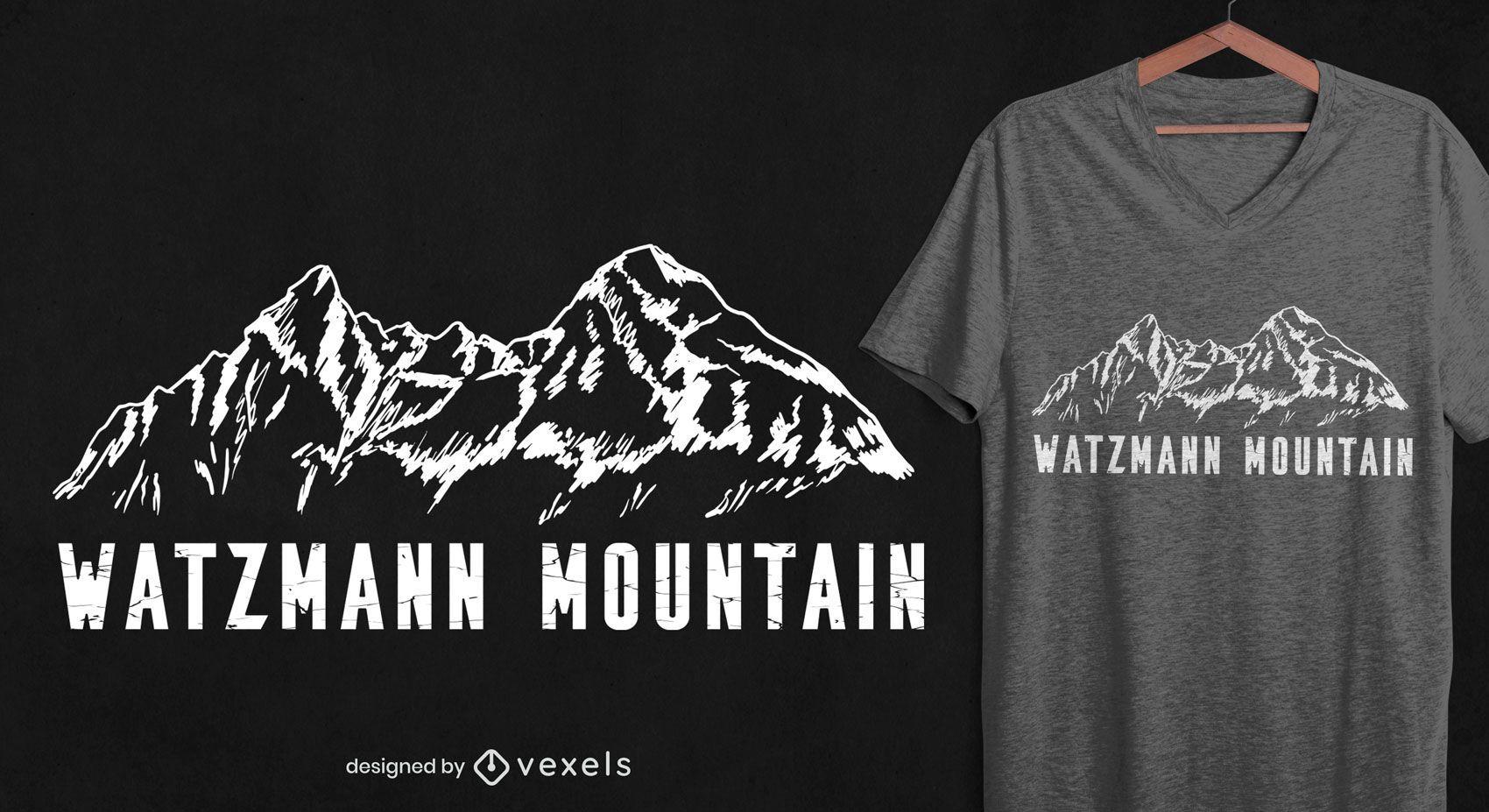 Diseño de camiseta de montaña Watzmann