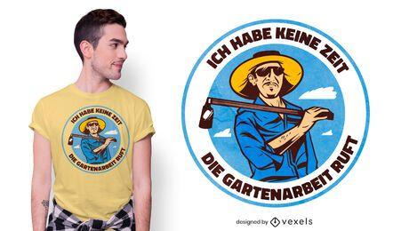 Diseño de camiseta alemana con cita de jardinería.