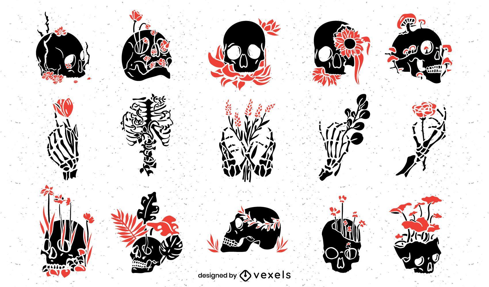 Botanical skull cut-out set