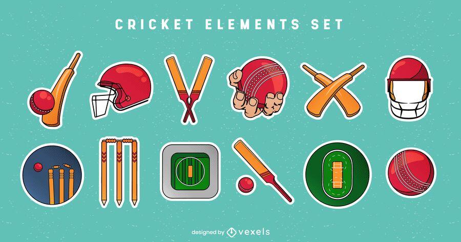 Conjunto de elementos de cricket